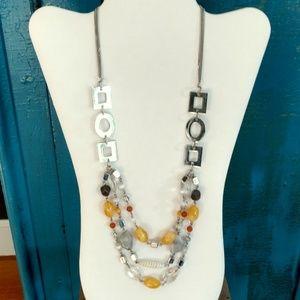 Lia Sophia silver and bead 3 tier necklace